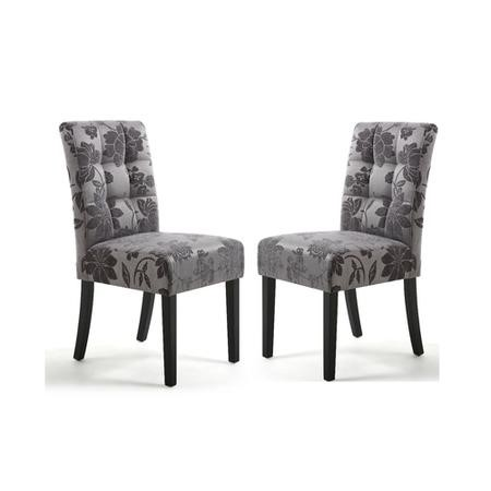 Shankar Moseley Pair of Waffle Back Jacquard Grey Dining Chairs with Black Legs