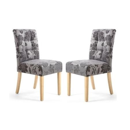 Shankar Moseley Pair of Waffle Back Jacquard Grey Dining Chairs with Natural Legs