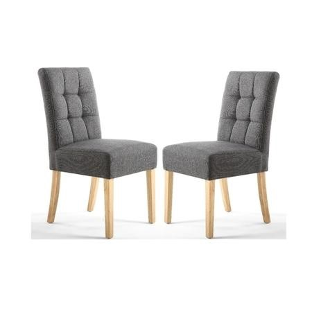 Shankar Moseley Pair of Waffle Back Linen Effect Grey Dining Chair with Natural Legs