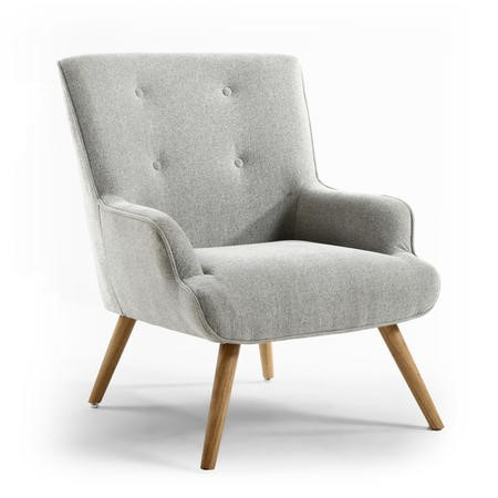 Upholstered Armchair in Silver Grey Fabric - Shankar