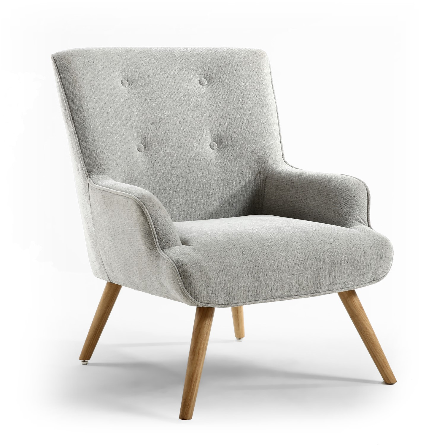 Upholstered Armchair in Silver Grey Fabric