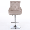 Adjustable Bar Stool in Mink Velvet with Silver Studs - Rocco