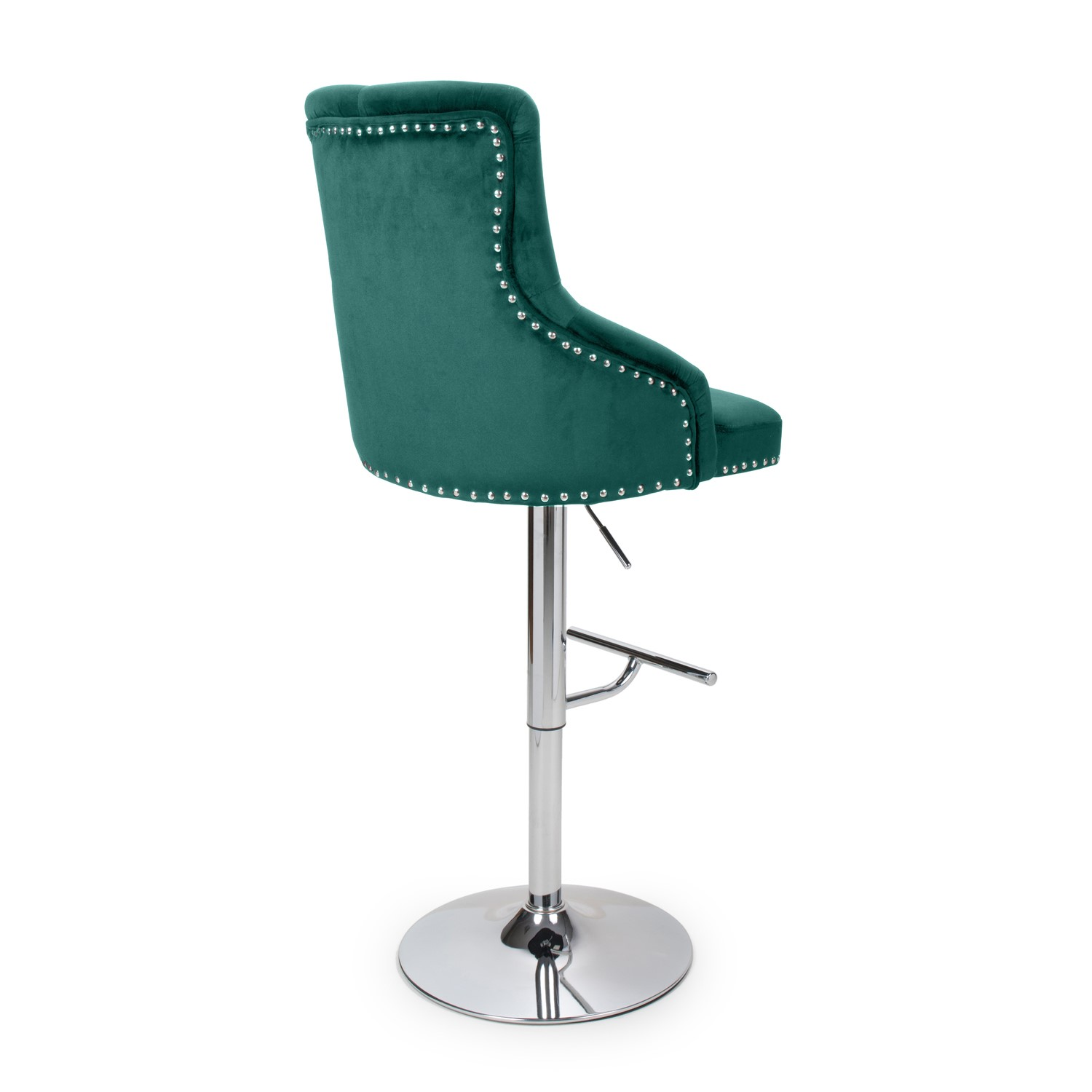 Adjustable Bar Stool In Green Velvet With Silver Studs Rocco Furniture123