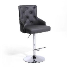 1b03fcf9b7b5 Rocco Bar Stool in Grey Faux Leather with Stud Detail - Adjustable