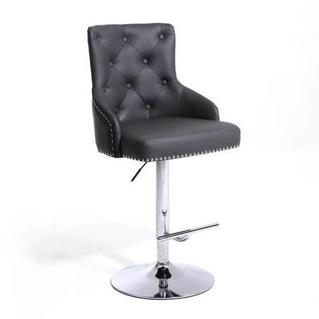 Adjustable Bar Stool in Grey Faux Leather with Silver Studs - Rocco