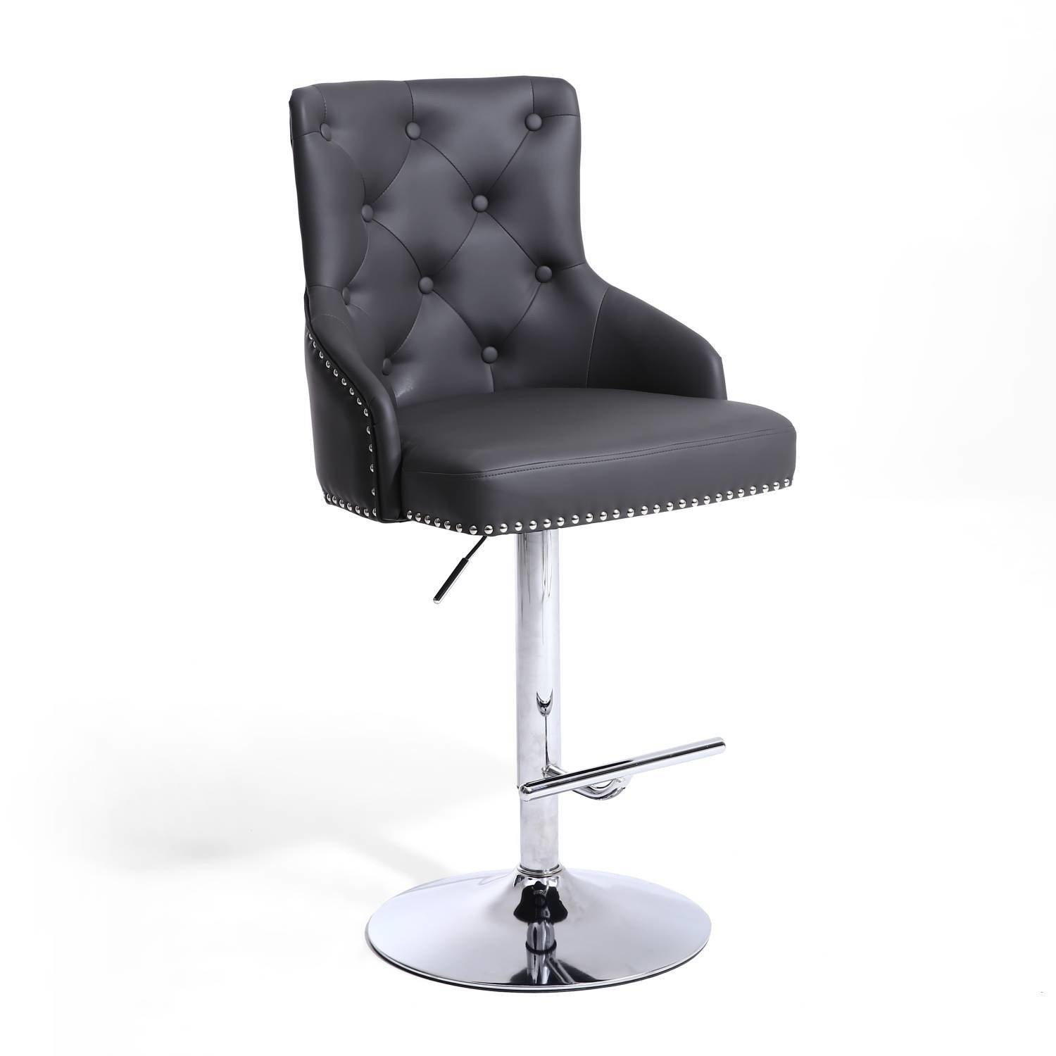 Picture of: Adjustable Bar Stool In Grey Faux Leather With Silver Studs Rocco Furniture123