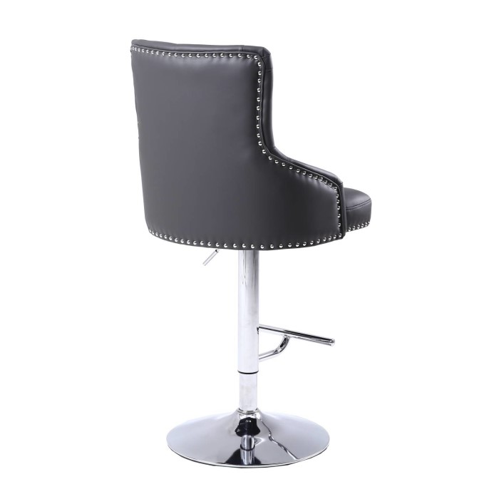 Adjustable Bar Stool In Grey Faux Leather With Silver