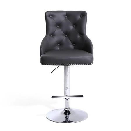 Rocco Faux Leather Grey Bar Stool