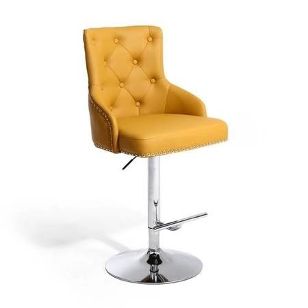 Rocco Faux Leather Yellow Bar Stool