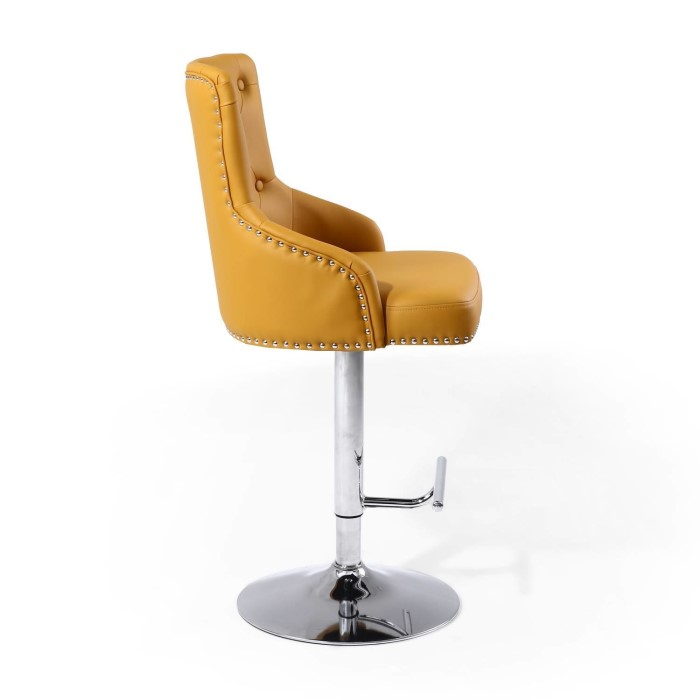 Adjustable Bar Stool In Yellow Faux Leather With Silver