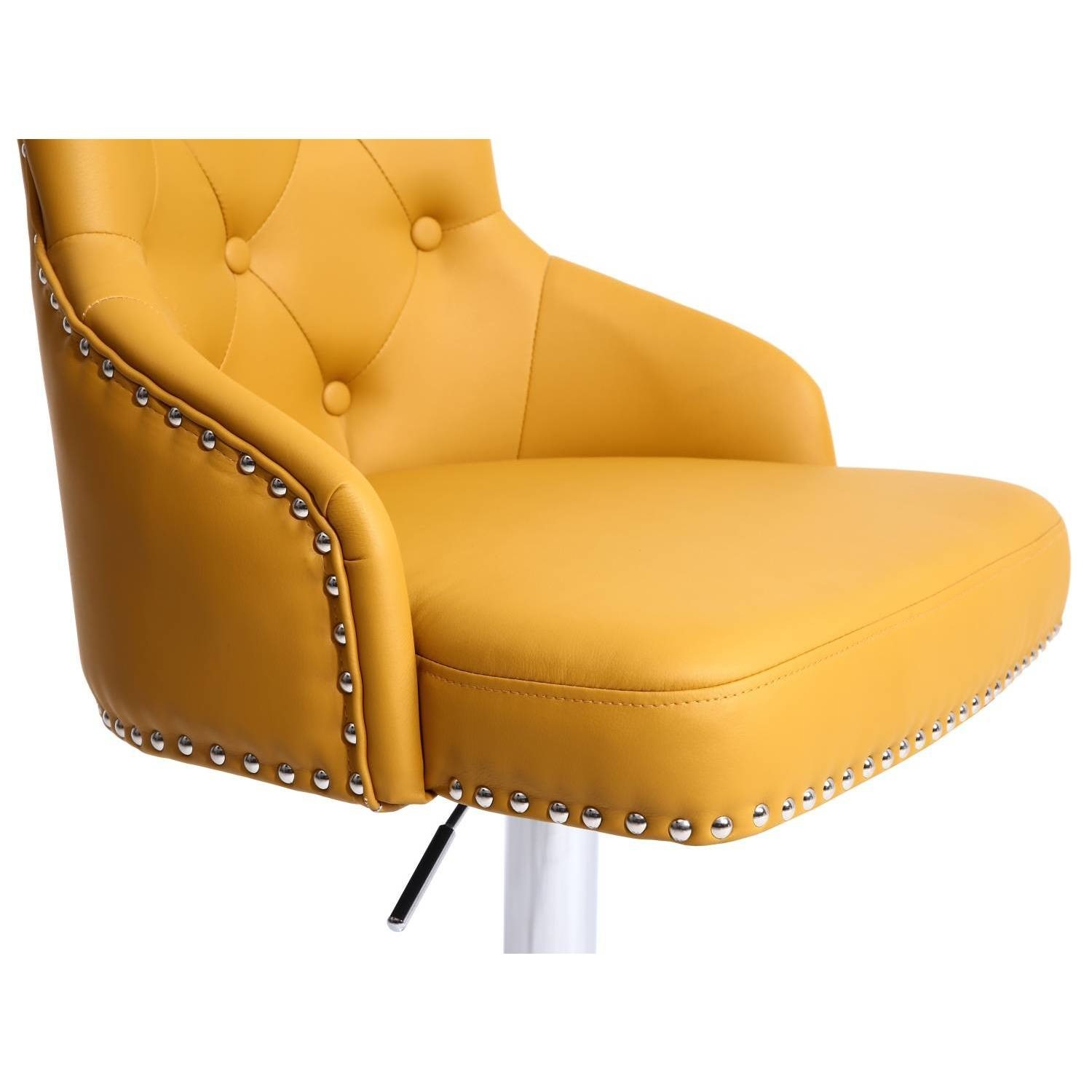 Wondrous Adjustable Bar Stool In Yellow Faux Leather With Silver Studs Rocco Gmtry Best Dining Table And Chair Ideas Images Gmtryco