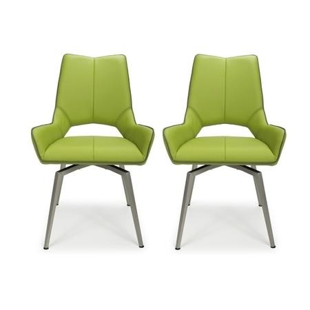 Vintage Carseat Pair of Dining Chairs in Lime Faux Leather