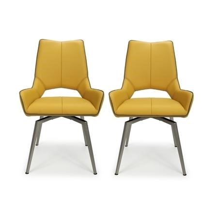 Vintage Carseat Pair of Chairs in Yellow Faux Leather