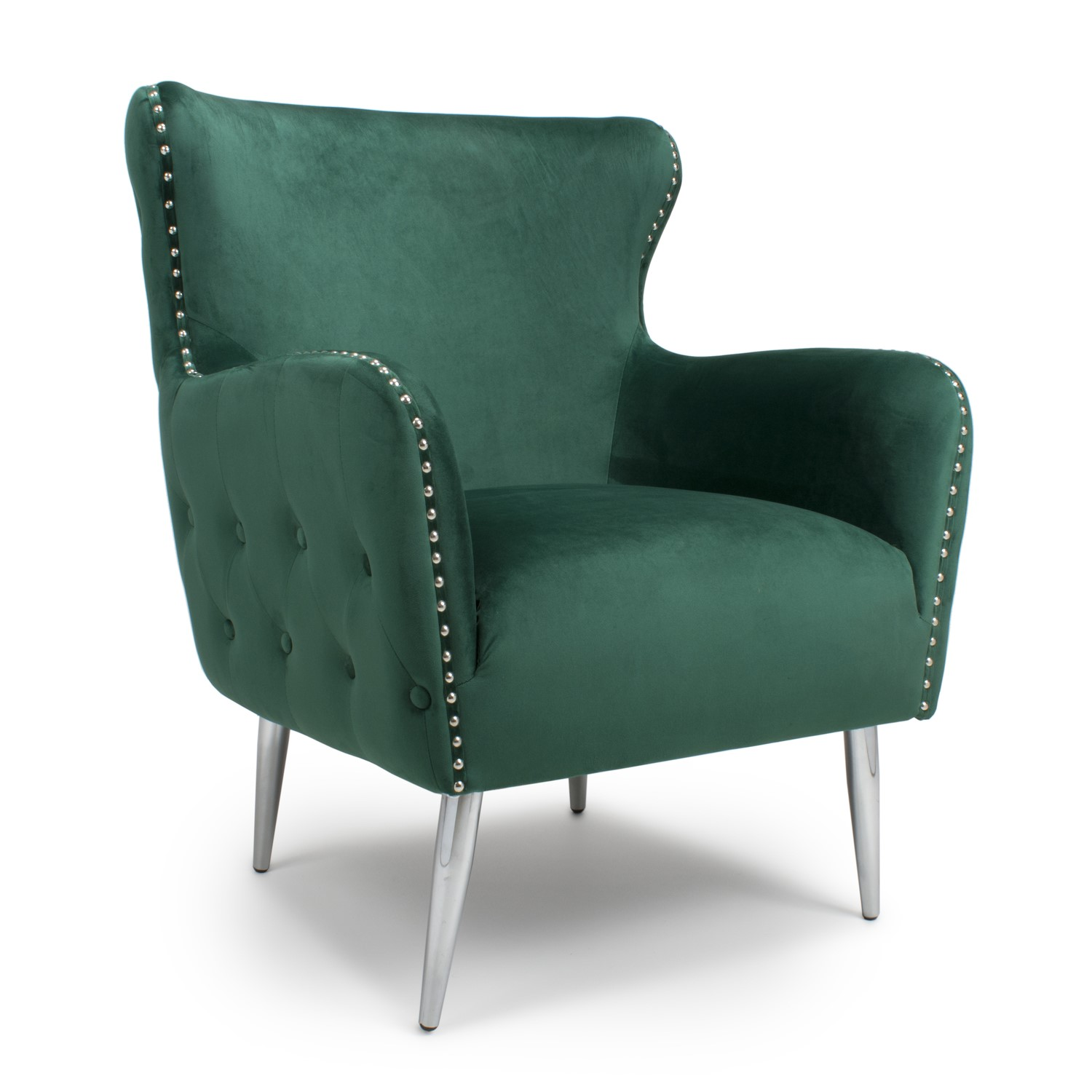 Marquess Tufted Wing Back Brushed Velvet Green Armchair