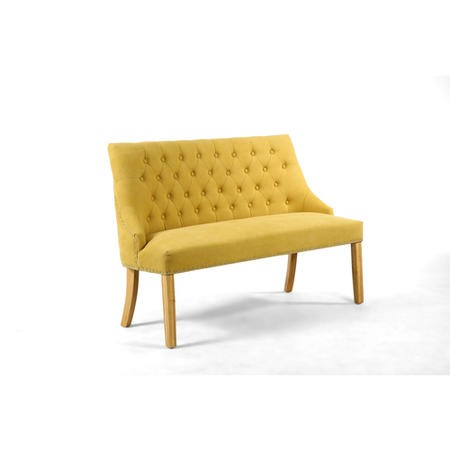 Yellow Fabric Button Dining Bench with Stud Detail
