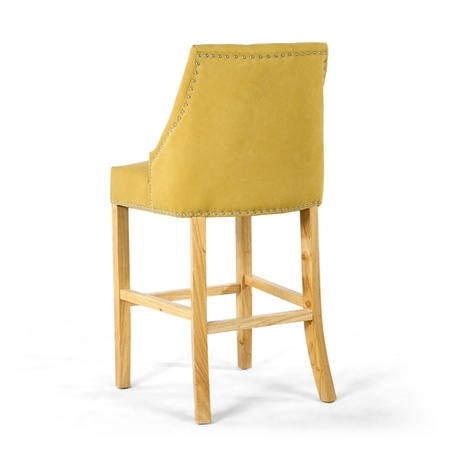 Yellow Fabric Button Back Bar Stool with Stud Detail