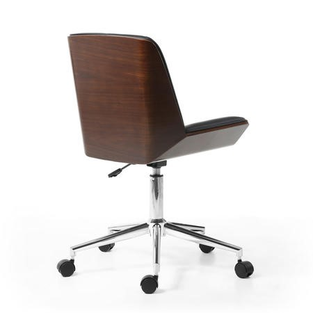 Black Leather Wing Office Chair With Walnut Trim