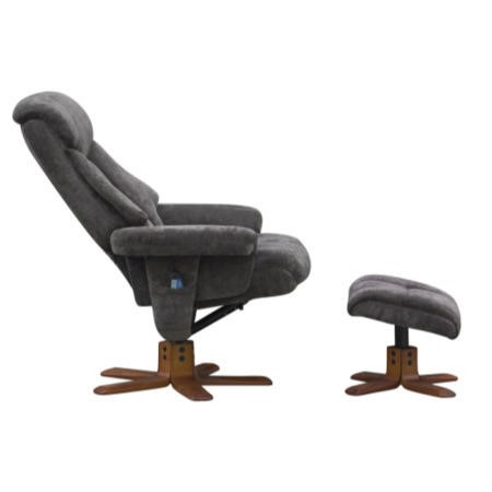 Exmouth Swivel Massage Recliner & Footstool in Charcoal Velour