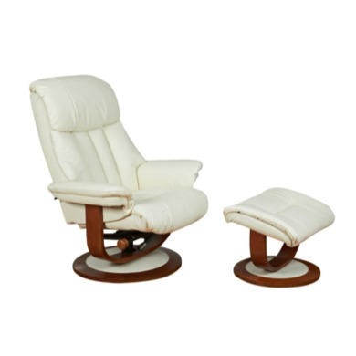 Global Furniture Alliance  Hereford Leather Swivel Recliner & Footstool in Cream
