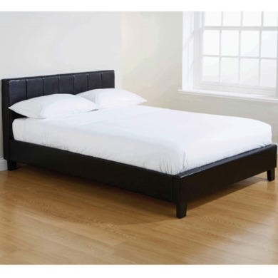 Mountrose Georgia Faux Leather 155cm King Size Bed in Black