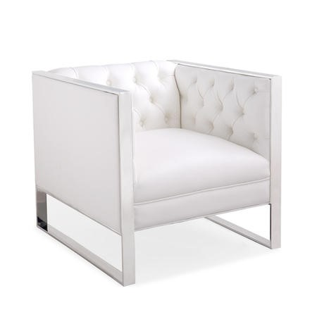 Square Armchair in White with Upholstered Button Finish