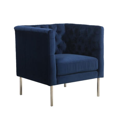 Midnight Blue Square Button Back Armchair