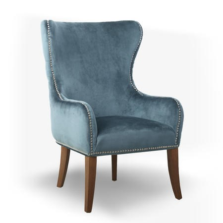 Colonial Blue Velvet Effect Armchair with Button Finish & Silver Studs