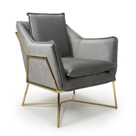 London Brushed Velvet Grey Armchair