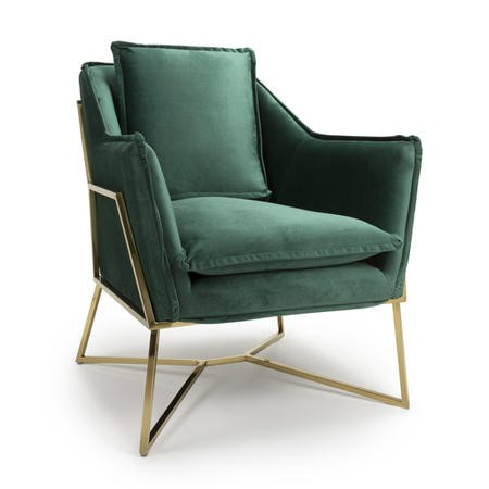 London Brushed Velvet Green Armchair