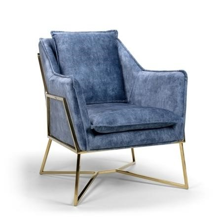 Midnight Blue London Armchair with Gold Frame