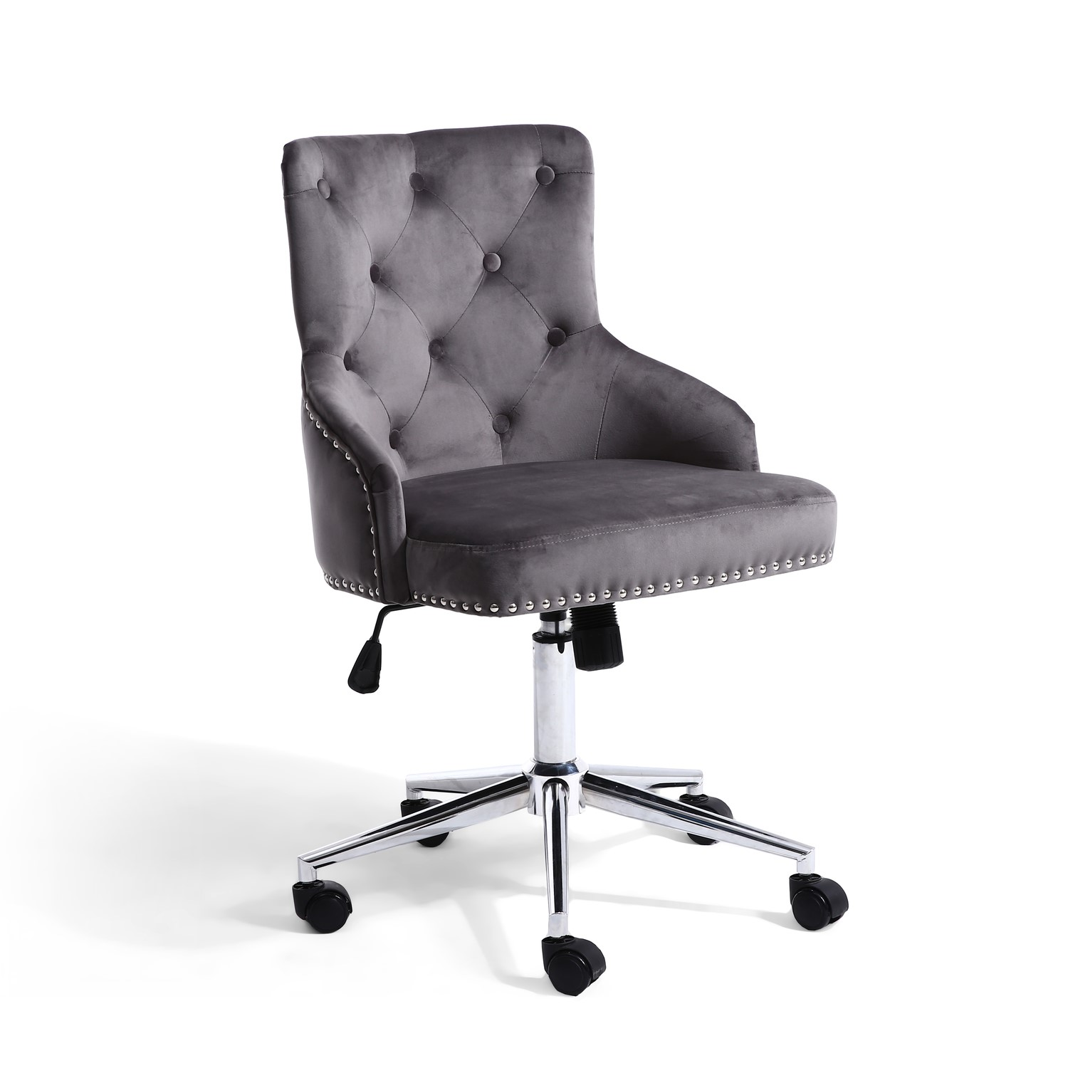 Picture of: Grey Velvet Luxury Tufted Bedroom Chair With Stud Detail Furniture123