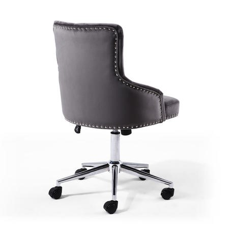 Grey Velvet Luxury Tufted Office Chair with Stud Detail