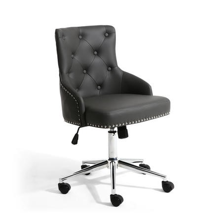 Grey Tufted Leather Effect Luxury Office Chair with Stud Detail
