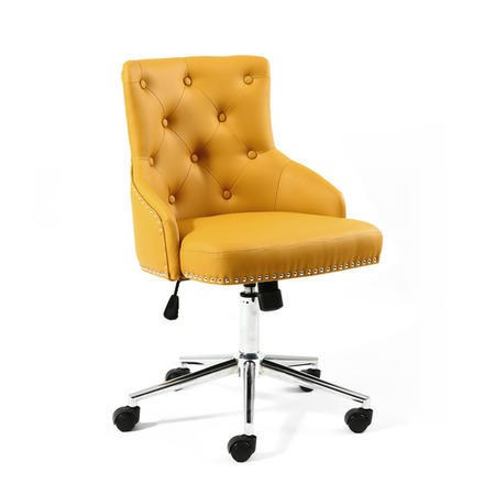 Yellow Tufted Leather Effect Luxury Office Chair with Stud Detail