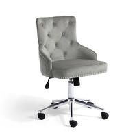 Silver Grey Velvet Office Chair