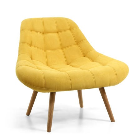 Shell Yellow Armchair with Fabric Quilted Finish