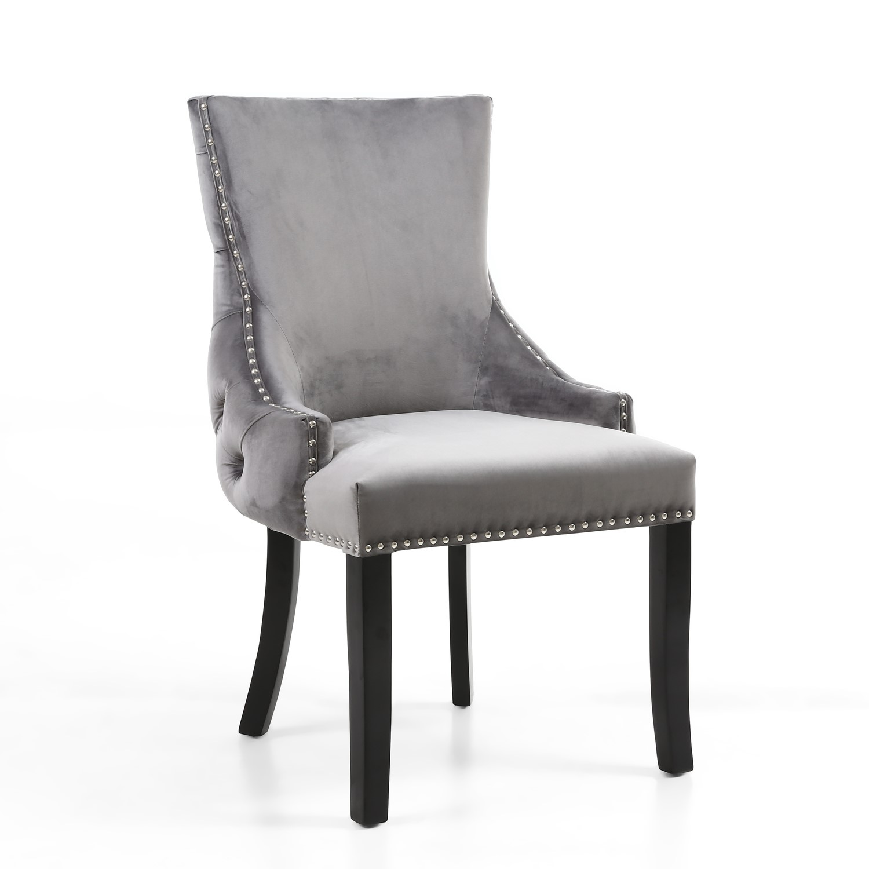 Winslow Single Brushed Velvet Grey Dressing Table Chair Furniture123