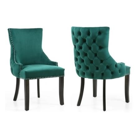 Set of 2 Green Velvet Dining Chairs - Winslow