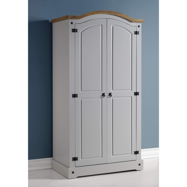 Seconique Corona 2 Door Wardrobe in Grey/Distressed Waxed Pine