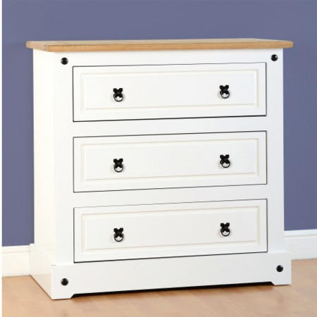 Seconique Corona White 3 Drawer Chest