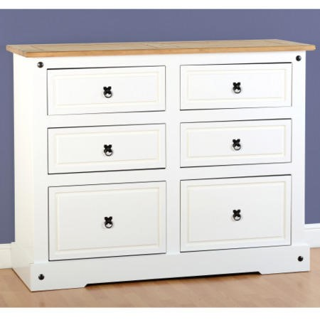 Seconique corona white 6 drawer chest of drawers for Furniture 123 corona
