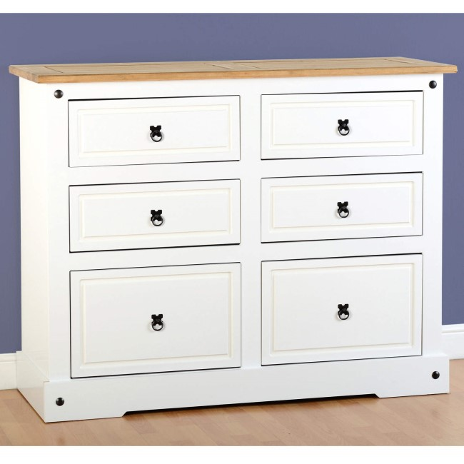 Seconique Corona White 6 Drawer Chest of Drawers