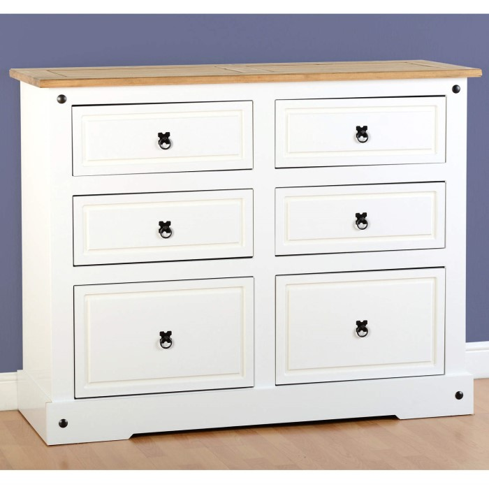 Seconique corona white 6 drawer chest of drawers for 1 door 6 drawer chest