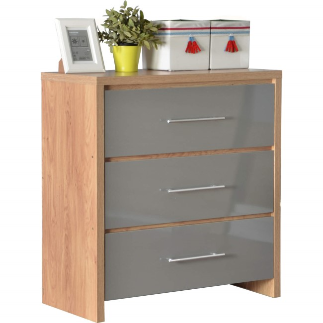 Seconique Seville 3 Drawer Chest in Light Oak/Grey High Gloss