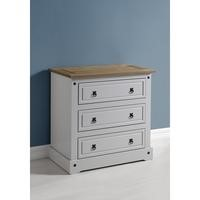 Seconique Corona 3 Drawer Chest in Grey/Distressed Waxed Pine