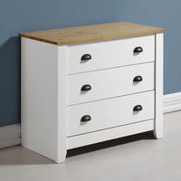 Seconique Ludlow 3 Drawer Chest in White and Oak