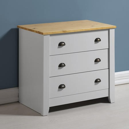 Seconique Ludlow 3 Drawer Chest of Drawers in Grey and Oak