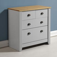Seconique Ludlow 2+2 Chest of Drawers in Grey and Oak