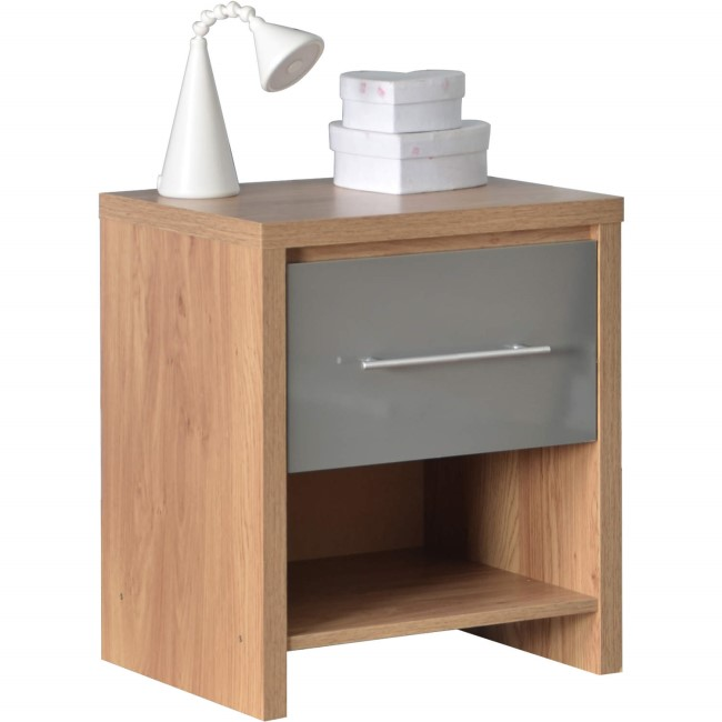 Seconique Seville 1 Drawer Bedside Table in Light Oak/Grey High Gloss