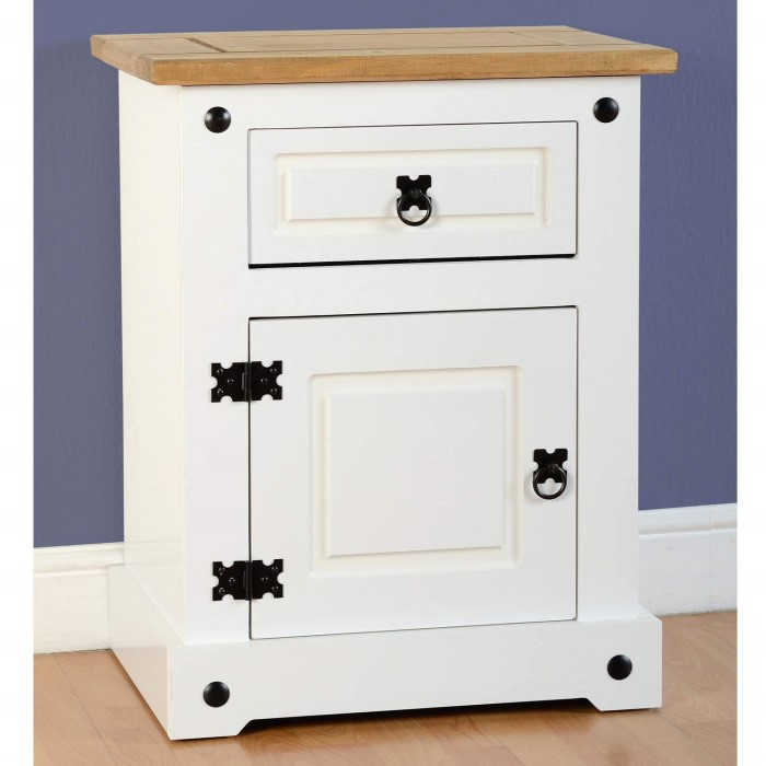 Seconique Corona White Bedside Cabinet With 1 Drawer And